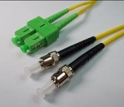 ST/FC-APC Duplex Fiber Optic Patch cable, Singlemode, 3mm Yellow PVC Jacket, 10 Meters Long