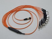 MTP/MPO -FC/UPC Multimode 62.5/125um, Options include 3mm round fan-out assemblies, Corning ribbon cable or 900um (.9mm) Multi-color fiber optic breakouts