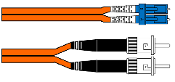 LC/ST Duplex Single Mode Fiber Patch Cable 2mm Orange 1M