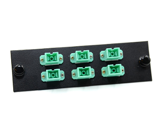 SC 6 Pack Simplex Plate, Multimode 10Gb w/ 6 Aqua SC Adapters