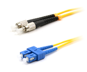 SC/FC Duplex Fiber Optic Patch cable, Singlemode, 3mm  Yellow PVC Jacket, 1 Meter Long