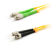 ST/FC-APC Duplex Fiber Optic Patch cable, Singlemode, 3mm Yellow PVC Jacket, 3 Meters Long