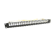 19'' Blank Patch Panel, 24 Port, Metal with Cable Support Bar 1U