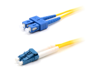 LC/SC Duplex 9/125 Singlemode Armored Patch Cable - Yellow 1M