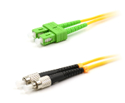 FC/SC-APC Duplex Fiber Optic Patch cable, Singlemode, 3mm  Yellow PVC Jacket, 1 Meter Long