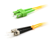 ST/SC-APC Duplex Fiber Optic Patch cable, Singlemode, 3mm  Yellow PVC Jacket, 1 Meter Long