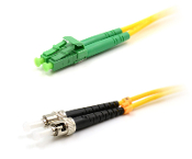 ST/LC-APC Duplex Fiber Optic Patch cable, Singlemode, 3mm Yellow PVC Jacket, 15 Meters Long