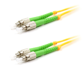 FC-APC/FC-APC Duplex Fiber Optic Patch cable, Singlemode, 3mm  Yellow PVC Jacket, 1 Meter Long