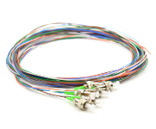 FC/APC 6 Fiber SM Multi Color Fiber Optic Pigtails, 3 Meters
