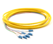 LC Jacketed 6 Pk SM Yellow Jacketed Fiber Pigtails, 3 Meters