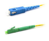 SC/LC-APC Simplex Fiber Optic Patch cable, Singlemode, 3mm  Yellow PVC Jacket, 1 Meter Long
