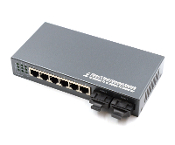 6 Port Fiber Switch 10/100 RJ45 to 2 Fiber Port, Multimode 2km
