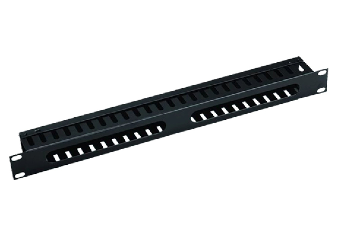 Black Value 19 Cable Management Plate with Horizontal//Vertical Cable Rings for Cabinets